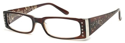 Angle of The Audrey in Brown, Women's Rectangle Reading Glasses