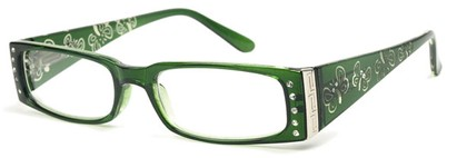 Angle of The Audrey in Green, Women's Rectangle Reading Glasses