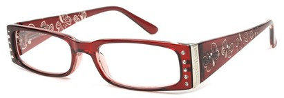 Angle of The Audrey in Red, Women's Rectangle Reading Glasses