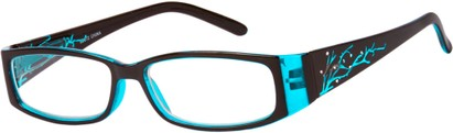 Angle of The Camille in Aqua Blue, Women's Rectangle Reading Glasses