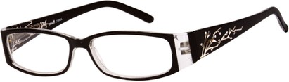 Angle of The Camille in Black, Women's Rectangle Reading Glasses
