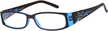 Angle of The Camille in Blue, Women's Rectangle Reading Glasses