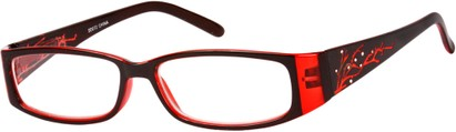 Angle of The Camille in Red, Women's Rectangle Reading Glasses