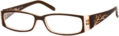 Angle of The Camille in Brown, Women's Rectangle Reading Glasses