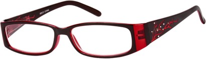Angle of The Camille in Dark Red, Women's Rectangle Reading Glasses