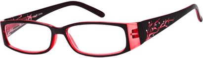 Angle of The Camille in Pink, Women's Rectangle Reading Glasses