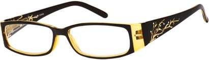 Angle of The Camille in Yellow, Women's Rectangle Reading Glasses