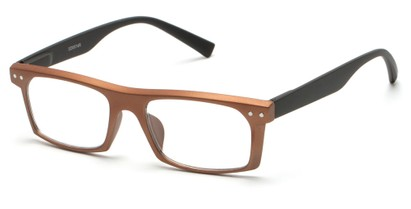 Angle of The Pete in Bronze/Black, Women's and Men's Rectangle Reading Glasses