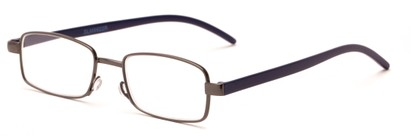 Angle of The Piper in Gunmetal/Blue, Women's and Men's Rectangle Reading Glasses