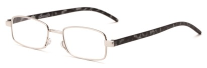 Angle of The Piper in Silver/Grey Tortoise, Women's and Men's Rectangle Reading Glasses