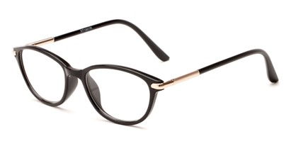 Angle of The Peach in Black, Women's Cat Eye Reading Glasses