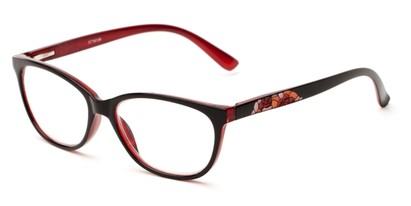 Angle of The Serenity in Black/Red, Women's Cat Eye Reading Glasses