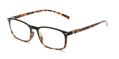 Angle of The Yonkers in Black/Tortoise, Women's and Men's Retro Square Reading Glasses