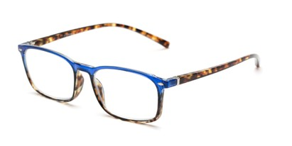 Angle of The Yonkers in Blue/Tortoise, Women's and Men's Retro Square Reading Glasses