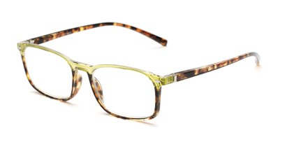 Angle of The Yonkers in Green/Tortoise, Women's and Men's Retro Square Reading Glasses