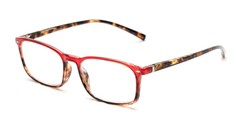 Angle of The Yonkers in Red/Tortoise, Women's and Men's Retro Square Reading Glasses