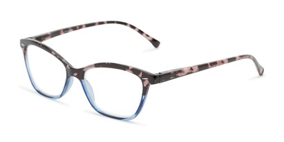 Angle of The Kit in Grey Tortoise/Blue, Women's Cat Eye Reading Glasses