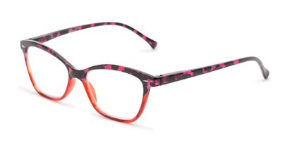 Angle of The Kit in Pink Tortoise/Red, Women's Cat Eye Reading Glasses