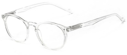 Angle of The Costello Unmagnified Computer Glasses in Clear, Women's and Men's Round Reading Glasses