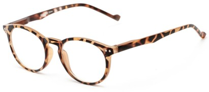 Angle of The Costello Unmagnified Computer Glasses in Brown Tortoise, Women's and Men's Round Reading Glasses