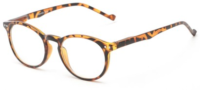 Angle of The Costello Unmagnified Computer Glasses in Yellow Tortoise, Women's and Men's Round Reading Glasses