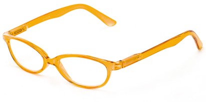 Angle of The Pandora in Orange, Women's Oval Reading Glasses