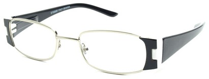 Angle of The Capri in Black and White, Women's Rectangle Reading Glasses
