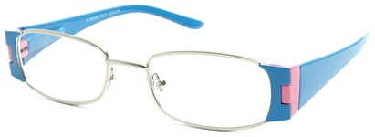 Angle of The Capri in Blue and Light Pink, Women's Rectangle Reading Glasses