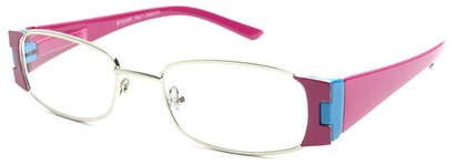 Angle of The Capri in Hot Pink and Blue, Women's Rectangle Reading Glasses