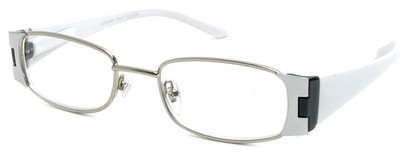 Angle of The Capri in White and Black, Women's Rectangle Reading Glasses