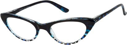 Angle of The Allie in Blue Leopard, Women's Cat Eye Reading Glasses