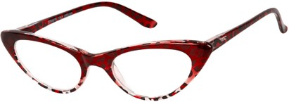 Angle of The Allie in Red Leopard, Women's Cat Eye Reading Glasses