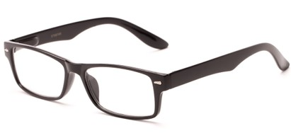 Angle of The Apollo in Glossy Black, Women's and Men's Rectangle Reading Glasses