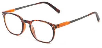 Angle of The Screenplay in Orange Tortoise, Women's and Men's Retro Square Reading Glasses