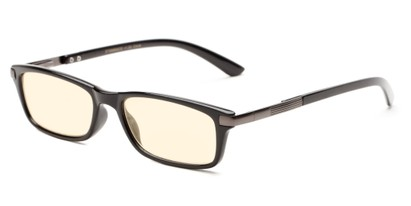 Angle of The Wiggins Computer Reader in Black with Yellow, Women's and Men's Rectangle Reading Glasses
