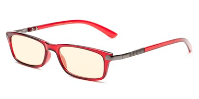 Angle of The Wiggins Computer Reader in Red with Yellow, Women's and Men's Rectangle Reading Glasses