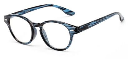 Angle of The Hayworth in Blue Stripe, Women's and Men's Round Reading Glasses