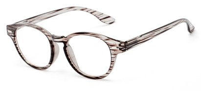Angle of The Hayworth in Grey Stripe, Women's and Men's Round Reading Glasses