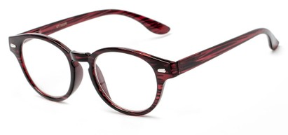 Angle of The Hayworth in Red Stripe, Women's and Men's Round Reading Glasses