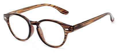 Angle of The Hayworth in Brown Stripe, Women's and Men's Round Reading Glasses