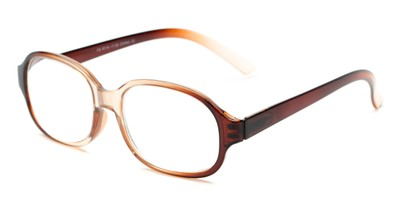 Angle of The Salem in Brown/Clear Fade, Women's and Men's Square Reading Glasses