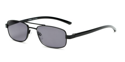 Angle of The San Antonio Reading Sunglasses in Matte Black with Smoke, Women's and Men's Aviator Reading Sunglasses