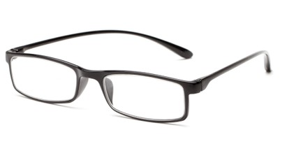 Angle of The Sawyer in Black, Women's and Men's Rectangle Reading Glasses
