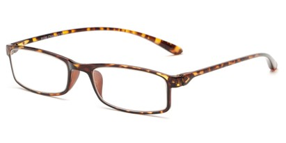 Angle of The Sawyer in Yellow Tortoise, Women's and Men's Rectangle Reading Glasses