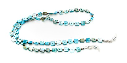 Angle of Seashell Reading Glasses Chain in Turquoise Blue, Women's  Neck Cords