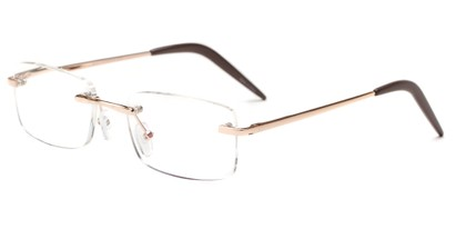 Angle of The Seattle Computer Reader in Gold, Women's and Men's Rectangle Reading Glasses