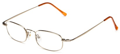 Angle of The Sheldon Customizable Reader in Gold, Women's and Men's Rectangle Reading Glasses