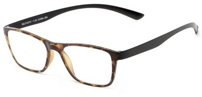 Angle of The Somerset Flexible Reader in Yellow/Black Tortoise, Women's and Men's Retro Square Reading Glasses