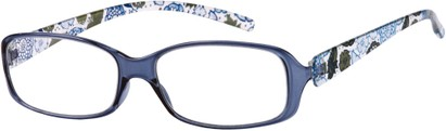 Angle of The Kendra Flexible Reader in Blue, Women's Rectangle Reading Glasses