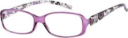 Angle of The Kendra Flexible Reader in Purple, Women's Rectangle Reading Glasses
